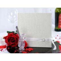 Fehér gyöngyházas vintage esküvői vendégkönyv 0652648169
