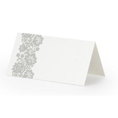 Elegáns ezüst virágmintás ültetőkártya