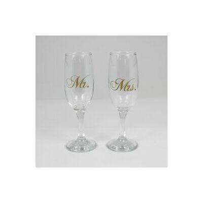 Mr. és Mrs. esküvői pezsgőspohár szett