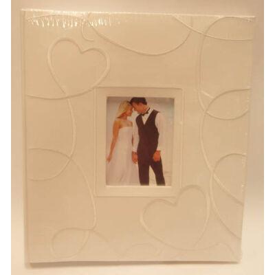 Fehér hímzett szíves fotóalbum