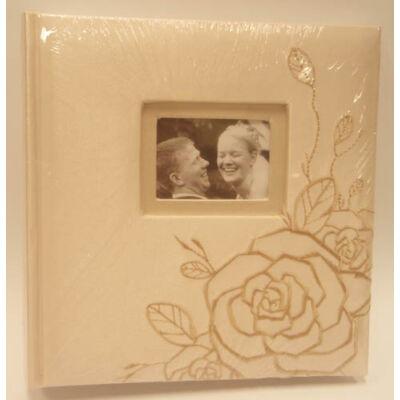 Hímzett rózsa mintás fotóalbum, 10x15 cm