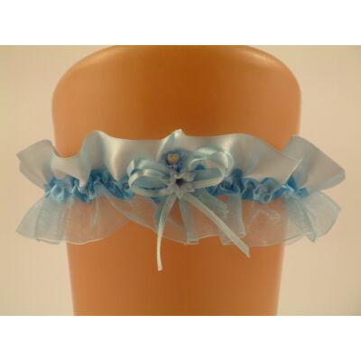 Kék szatén-organza harisnyakötő esküvőre