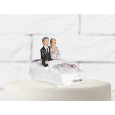 Autós esküvői tortadísz