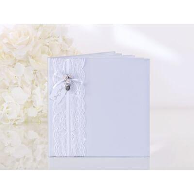 Fehér csipkés vintage hangulatú vendégkönyv