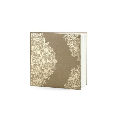 Barna esküvői vendégkönyv arany mintával