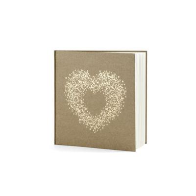 Barna esküvői vendégkönyv arany szíves mintával