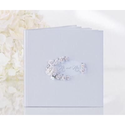 Fehér virágos vendégkönyv