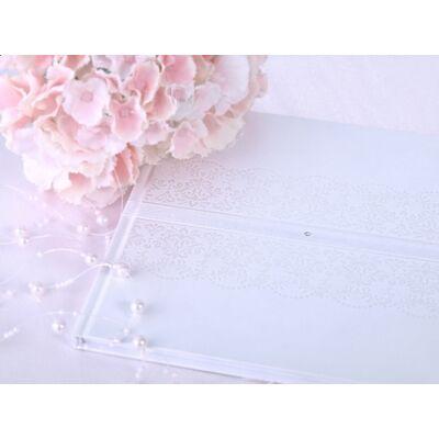 Fehér gyöngyházas vintage esküvői vendégkönyv