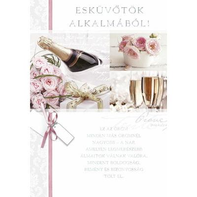 Rózsaszín rózsák pezsgővel esküvői képeslap