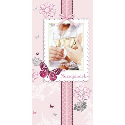 Rózsaszín virágos-pillangós nászajándék képeslap