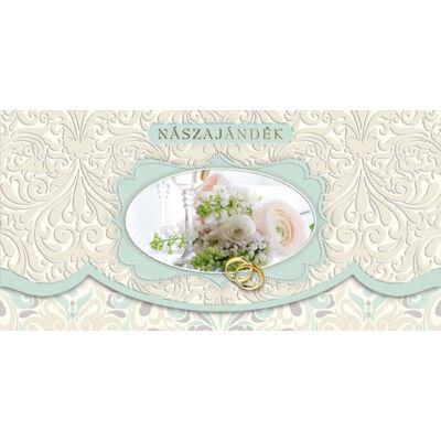 Virágos-gyűrűs nászajándék képeslap