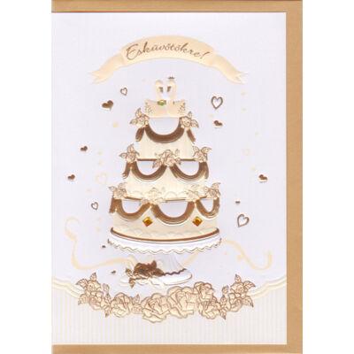 Dombormintás arany tortás esküvői képeslap