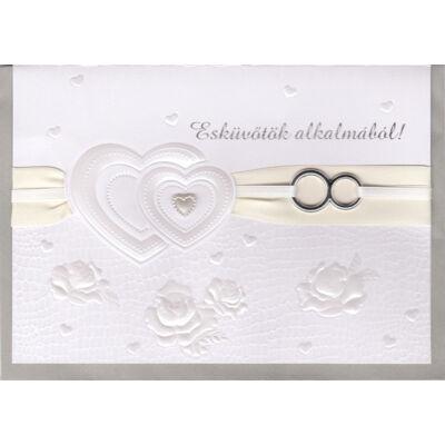 Dombormintás fehér-ekrü gyűrűs esküvői képeslap