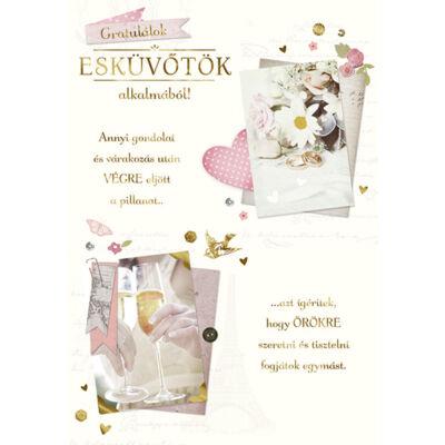 Virágos-pezsgőspoharas esküvői képeslap