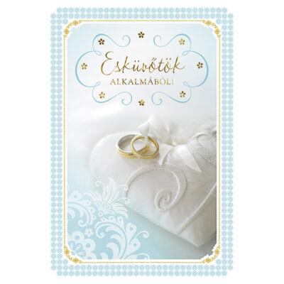 Kék gyűrűs esküvői képeslap