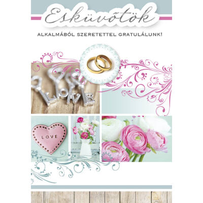 Szerelem kulcsos esküvői képeslap