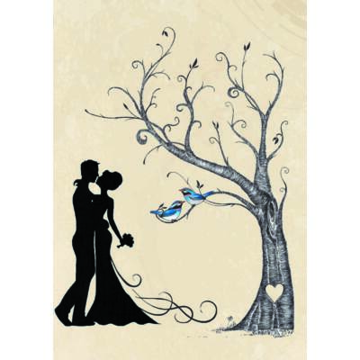 Esküvői pár ujjlenyomatfa