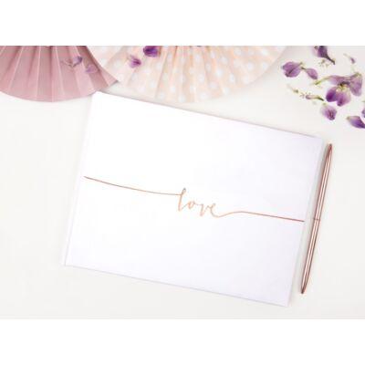 Fehér esküvői vendégkönyv rose gold love felirattal
