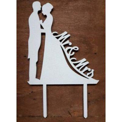 Fehér mr és mrs esküvői pár sziluett tortadísz