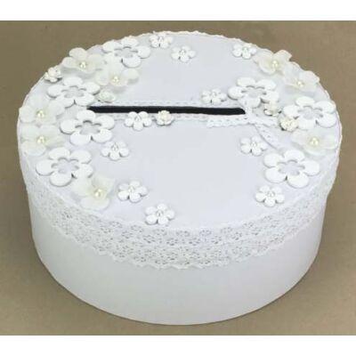 Fehér virágos esküvői nászajándék doboz