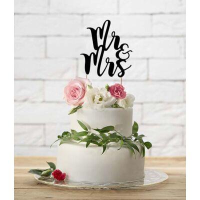 Fekete Mr és Mrs papír sziluett tortadísz