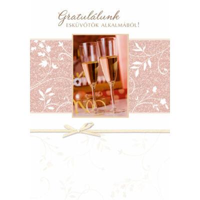 Esküvői képeslap pezsgős