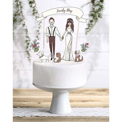 Lovely day papír esküvői sziluett tortadísz