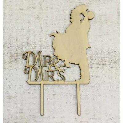 Mr és mrs csókos pár natúr fasziluett tortadísz