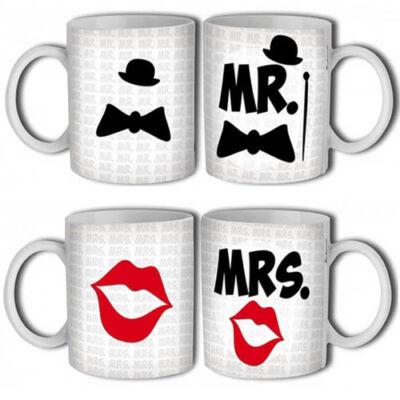 Mr és Mrs feliratos bögre szett