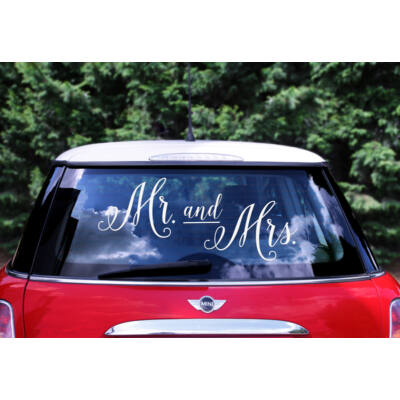Mr és mrs esküvői autódekor matrica