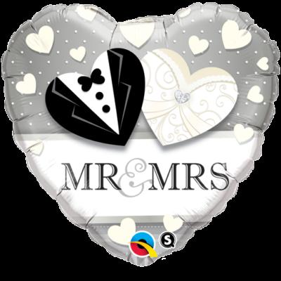 Szív mr és mrs esküvői héliumos lufi