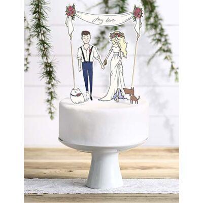 My love papír esküvői sziluett tortadísz