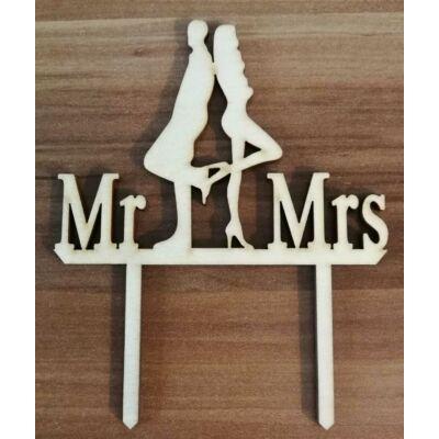 Vagány esküvői pár sziluett tortadísz