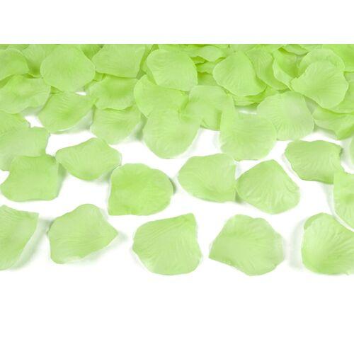 Selyem rózsaszirom zöld színben 100 db