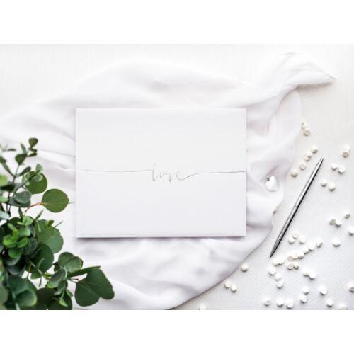 Fehér esküvői vendégkönyv ezüst love felirattal
