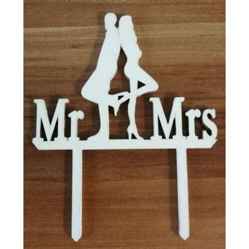 Fehér vagány esküvői pár sziluett tortadísz