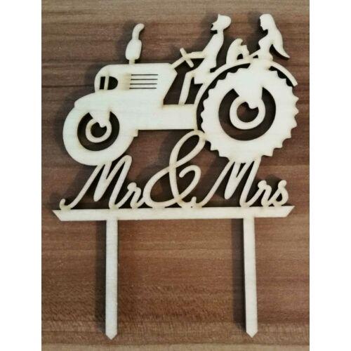 Traktoros esküvői sziluett tortadísz