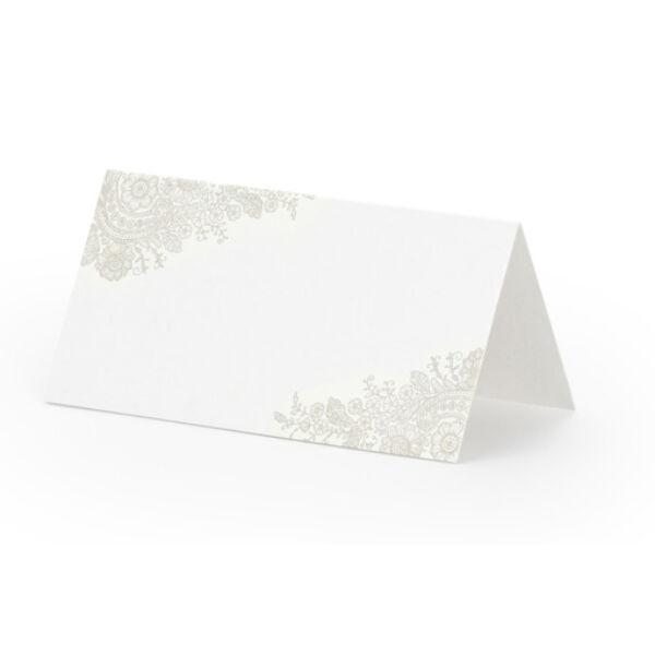 Elegáns sarkos ezüst mintás ültetőkártya