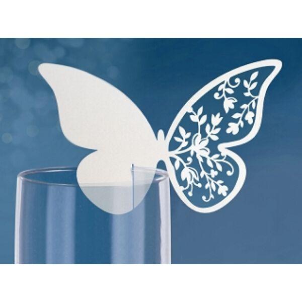 Virágos szárnyú pillangós ültetőkártya