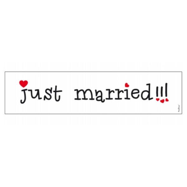 Just married esküvői rendszámtábla