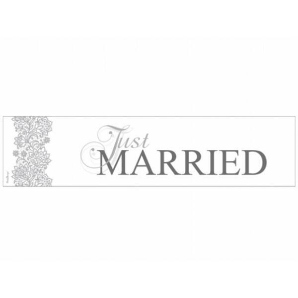 Ezüst Just married rendszámtábla