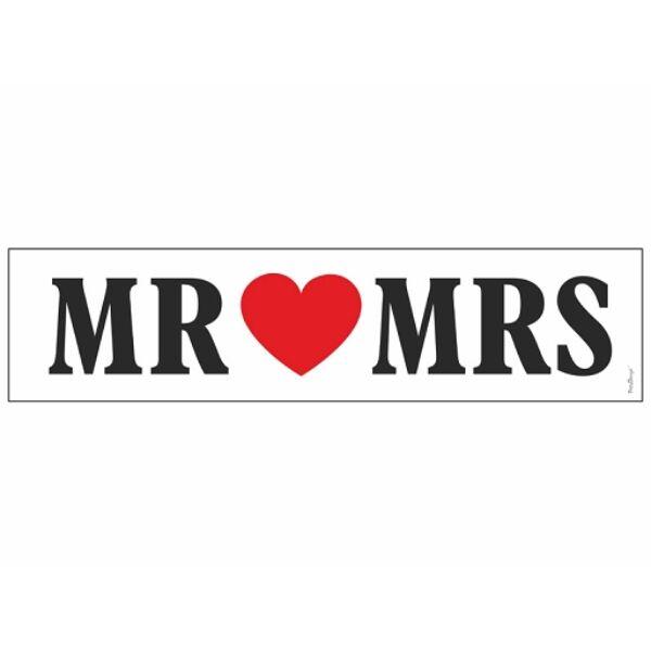 Mr. és Mrs. esküvői rendszámtábla