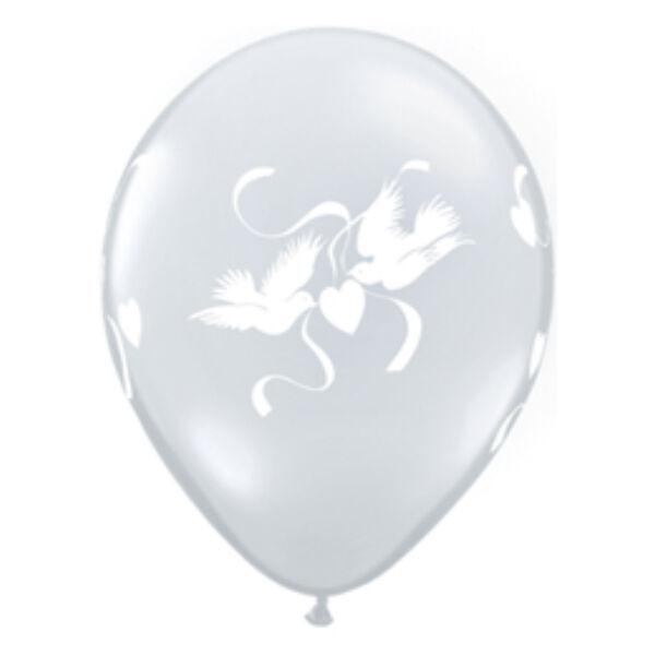 Átlátszó galambos héliumos lufi