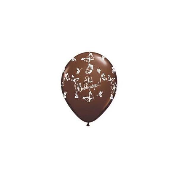 Sok Boldogságot pillangós csoki barna esküvői lufi
