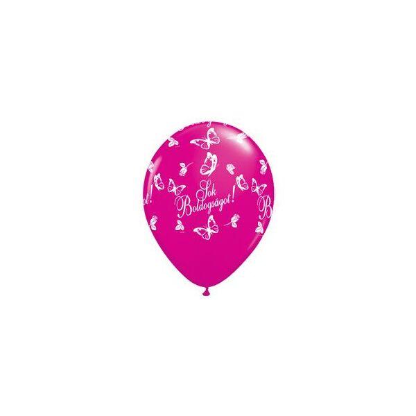 Sok Boldogságot pillangós pink esküvői lufi