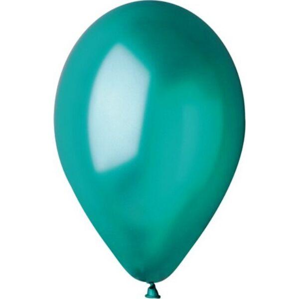 Sötétzöld lufi, metál 15 cm