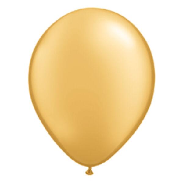 Arany gyöngyházas qualatex lufi 15 cm