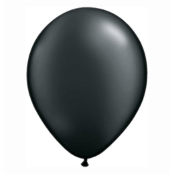 Fekete gyöngyházas qualatex lufi 15 cm