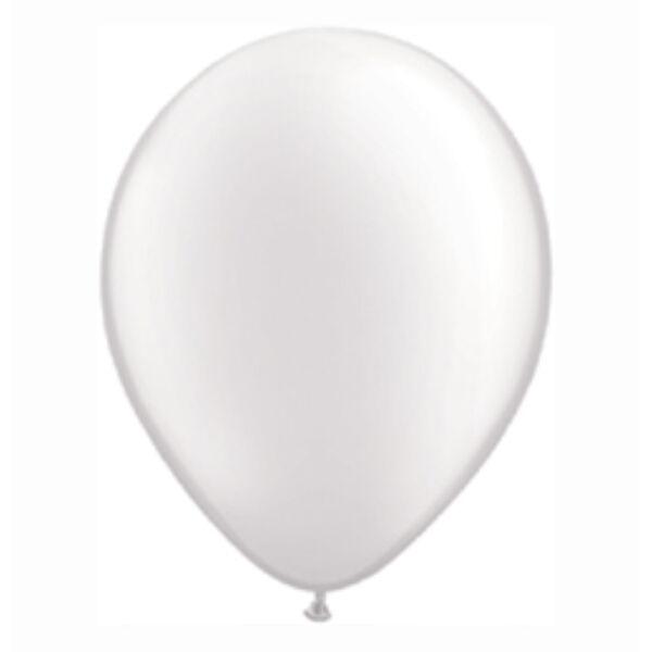 Fehér gyöngyházas qualatex lufi 15 cm