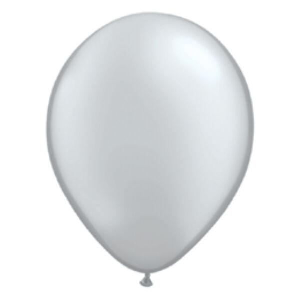 Ezüst gyöngyházas qualatex lufi 15 cm
